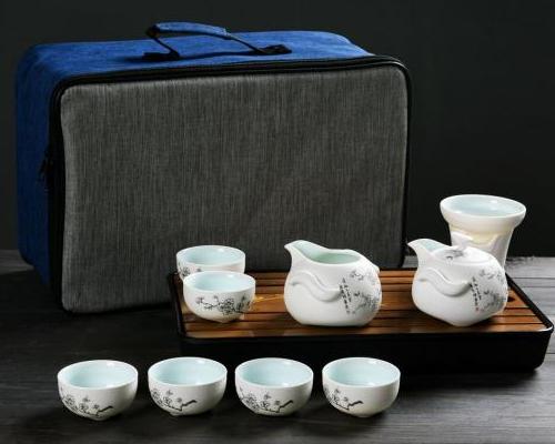 茶具套装—10头雪花釉企鹅壶(五福梅花)